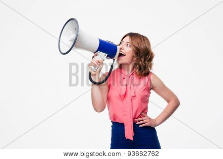 Casual woman screaming in loudspeaker isolated on a white background