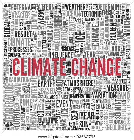 Close up CLIMATE CHANGE Text at the Center of Word Tag Cloud on White Background.