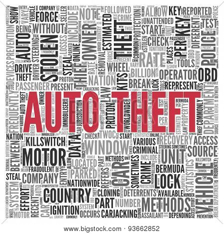 Close up AUTO THEFT Text at the Center of Word Tag Cloud on White Background.
