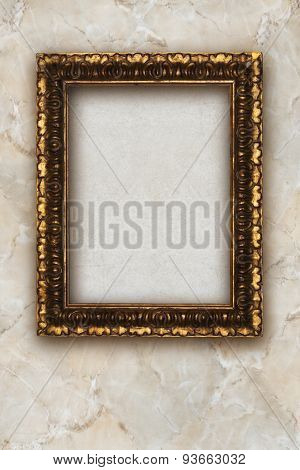 Old Picture Frame Handmade Wood On Marble Background