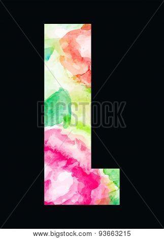 Flower type pink roses letter L