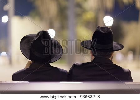 The silhouette of two Jewish men. Jerusalem city, Israel.