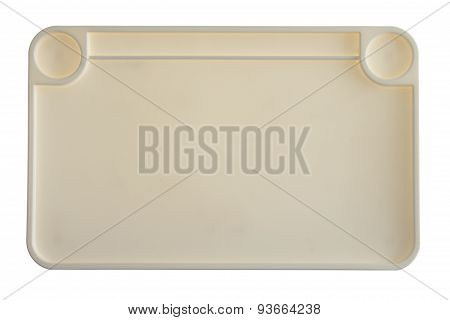 High Angle View Of Empty Plastic Tray