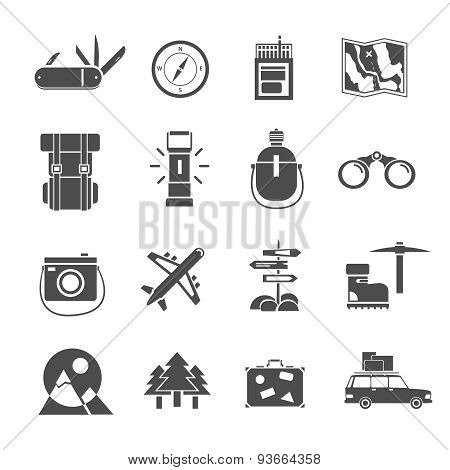 Hiking icons set black