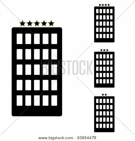 Hotel Set Black Vector