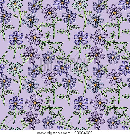 Floral seamless pattern with wildflowers.