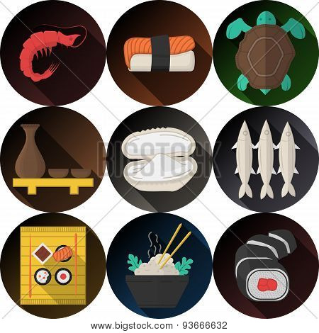Stylish flat icons vector collection for seafood