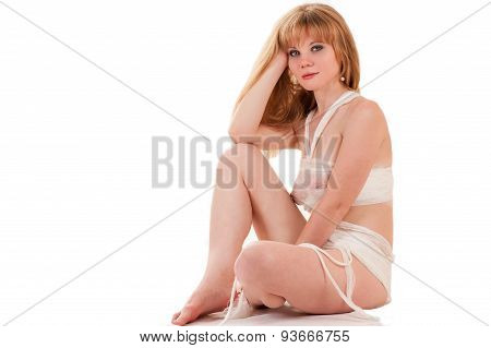 beautiful sexy woman sitting in bandages
