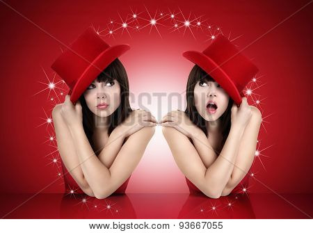 funny girl looking up concept of surprise