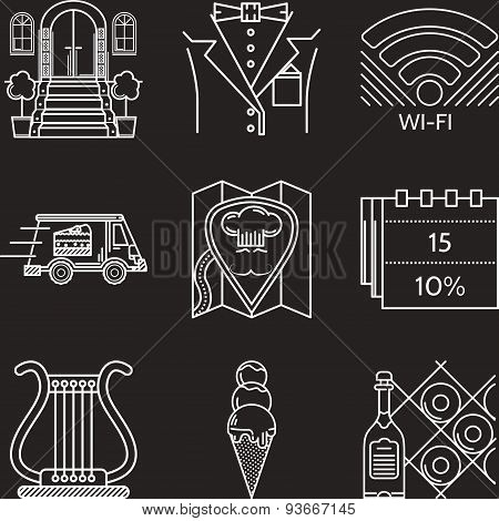 Restaurant industry white line vector icons