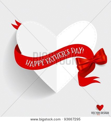 Happy fathers day card design with heart and ribbon. Vector Illustration.