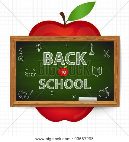 Welcome back to school with blackboard and apple, vector illustration.