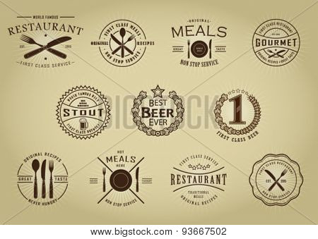 Vintage Retro Restaurant Beer Seals