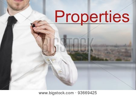 Businessman Writing Properties In The Air Office