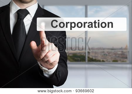 Businessman In Office Pushing Flat Touchscreen  Button Corporation