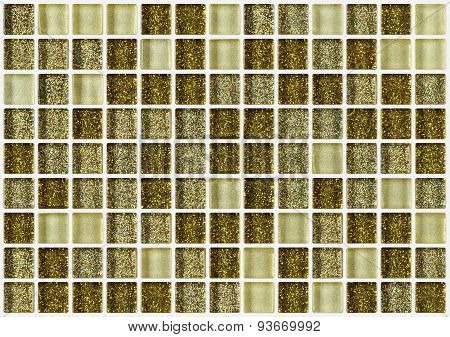 Tile Mosaic Square Decorated With Glitter Golden Texture Background