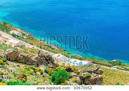 Typical Greek houses on the coast of Greece Sea