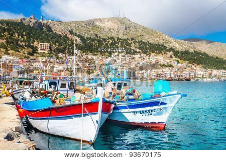 Wharf and cosy traditional Greek boats, Greece