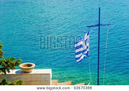 Cross with Greek flag and sea, Aegean Sea Island