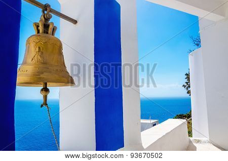 Golden bell - typical blue-white church in Greece