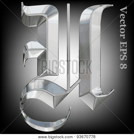 Vector letter U from metal gothic alphabet. Uppercase metal font collection. EPS 8