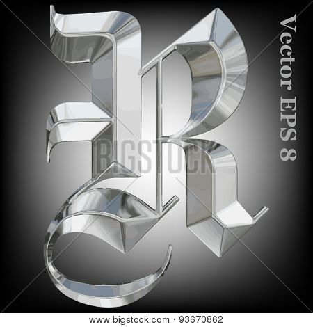 Vector letter R from metal gothic alphabet. Uppercase metal font collection. EPS 8