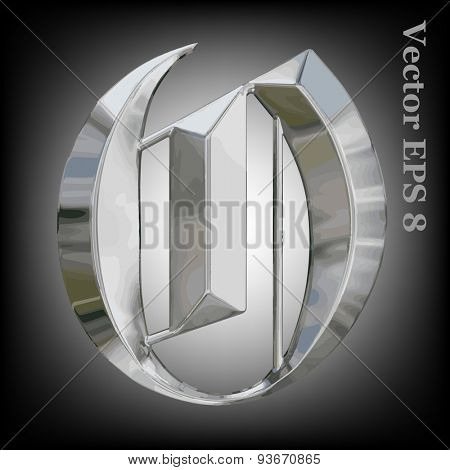 Vector letter O from metal gothic alphabet. Uppercase metal font collection. EPS 8