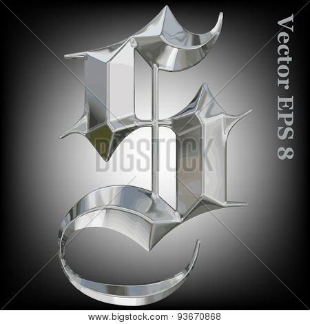 Vector letter S from metal gothic alphabet. Uppercase metal font collection. EPS 8