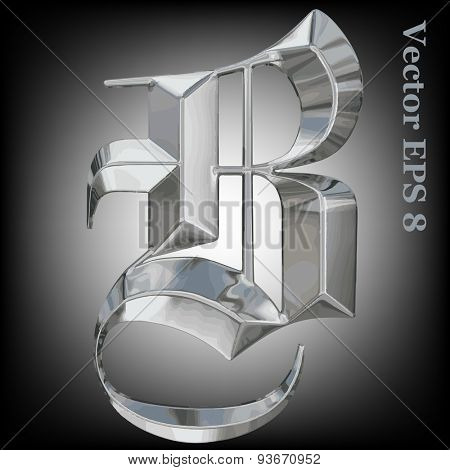 Vector letter B from metal gothic alphabet. Uppercase metal font collection. EPS 8