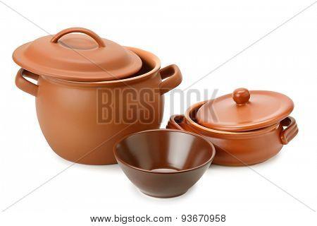 Set clay utensils on white