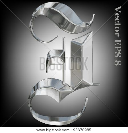 Vector letter I from metal gothic alphabet. Uppercase metal font collection. EPS 8