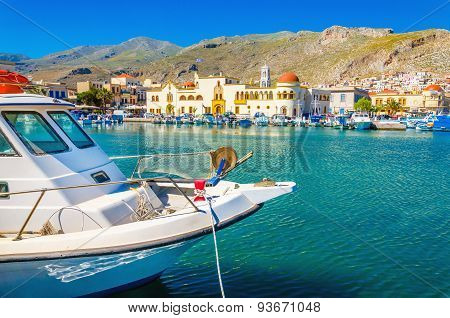 Boat in Pohtia port on Kalymnos island, Greece