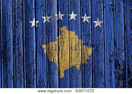 Flag Of Kosovo Painted On Wooden Frame