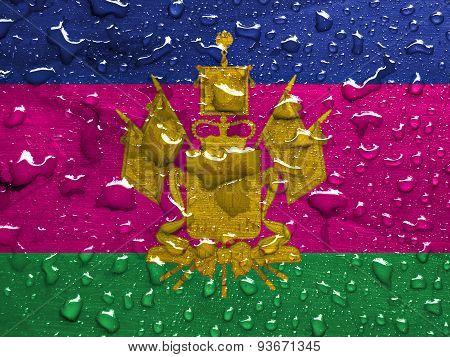 flag of Krasnodar Krai with rain drops