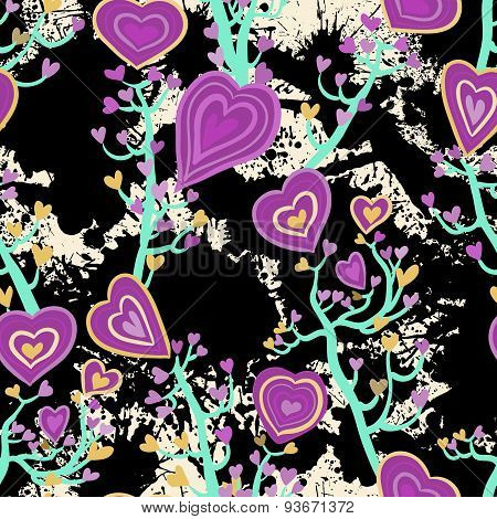 Seamless pattern with heart flowers
