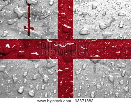 flag of London with rain drops