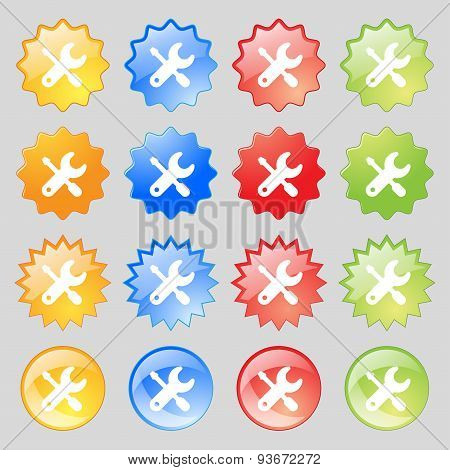 Screwdriver, Key, Settings Icon Sign. Set From Fourteen Multi-colored Glass Buttons With Place For T
