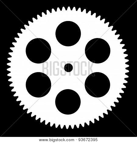Silhouette Pinion, Isolated On Black Background