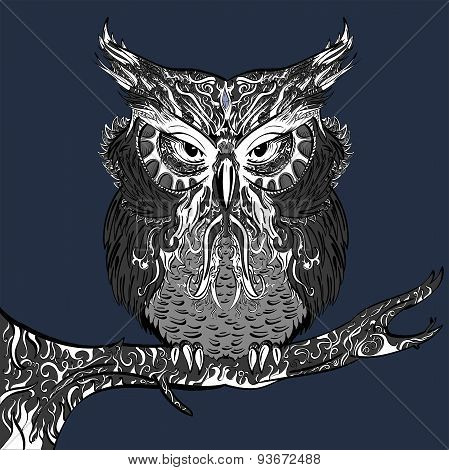 Gray Owl with white ornament