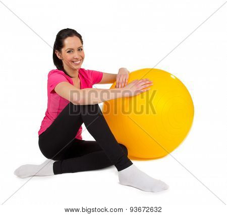 Woman training isolated on white background, close-up.