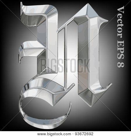Vector letter Z from metal gothic alphabet. Uppercase metal font collection. EPS 8