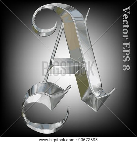 Vector letter A from metal gothic alphabet. Uppercase metal font collection. EPS 8