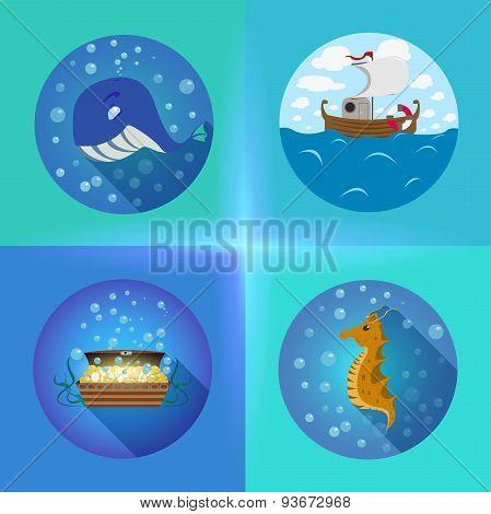 Sea theme flat icons