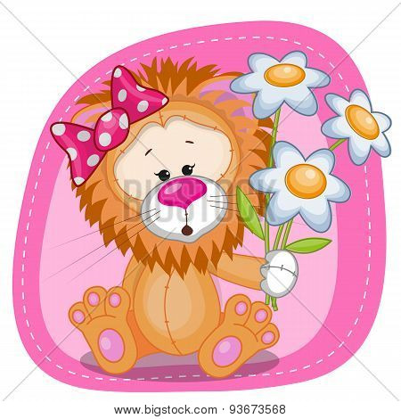 Lion Girl With Flowers