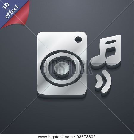 Music Column, Disco, Music, Melody, Speaker Icon Symbol. 3D Style. Trendy, Modern Design With Space