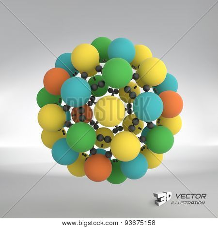 Sphere. 3d vector template. Abstract illustration. Can be used for presentations and design.