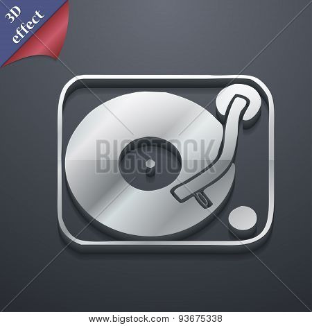 Gramophone, Vinyl Icon Symbol. 3D Style. Trendy, Modern Design With Space For Your Text, Vector