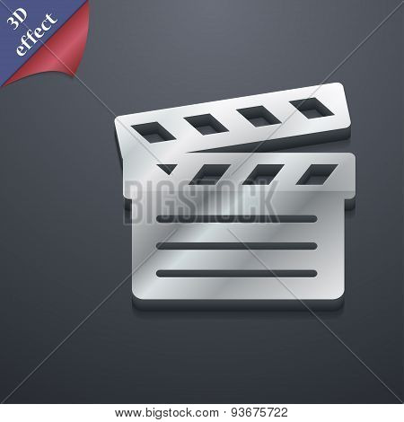 Cinema Clapper Icon Symbol. 3D Style. Trendy, Modern Design With Space For Your Text, Vector