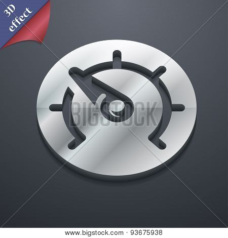 Speedometer Icon Symbol. 3D Style. Trendy, Modern Design With Space For Your Text, Vector