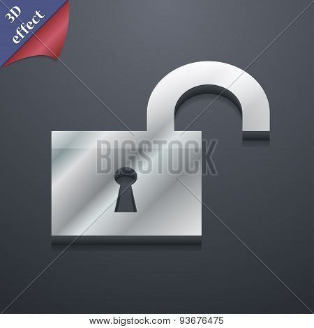Open Lock Icon Symbol. 3D Style. Trendy, Modern Design With Space For Your Text Vector